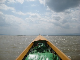 013_out in the lake in a longboat