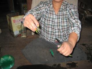 037_gathering lotus fibres