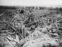 THE BATTLE OF MESSINES, JUNE 1917 (Q 5787) A smashed up German trench on Messines Ridge, 7 June 1917 Copyright: © IWM. Original Source: http://www.iwm.org.uk/collections/item/object/205223609