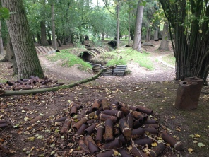 The trenches and abandoned ammunition