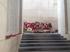 Wreaths laid under the name tablets, Menin Gate
