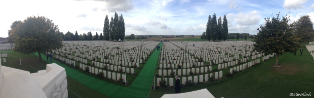Tyne Cot Cemetery and battle grounds in the background