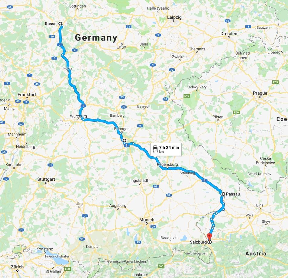 Kassel to Salzburg