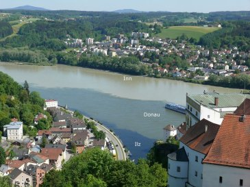 Passau and the joining of 3 rivers