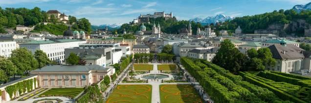 Panorama-Mirabell Gardens-Hohensalzburg Castle