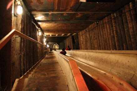 Wooden slides in the mines
