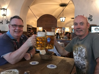 Munich Hofbrauhus - Dave & I and what we have been waiting for.