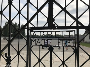 Dachau Concentration Camp - Entrance gate; Work will free you
