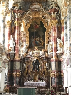Rocco interior & high altar with the Scourge of Christ statue, Wieskirche