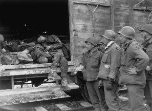 Deserted rail carriages, Railway Station Dachau 1945