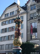 Fritschi statue on the fountain at Kapellplatz, Lucerne, Switzerland