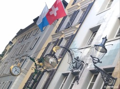 The amazing signage, Swiss and Lucerne flags