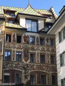 "Lüftlmalerei"" or facade frescoes & mosaic roofs, Lucerne, Switzerland"