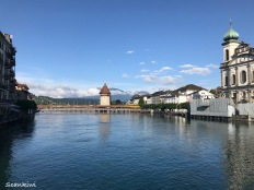 Ruess river & Kapellbrücke (Chapel Bridge), Lucerne, Switzerland
