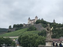 From the Alte Mainbrücke (Old Main) bridge with the statue of St. Kilian (an Irish missionary bishop who converted Würzburg)
