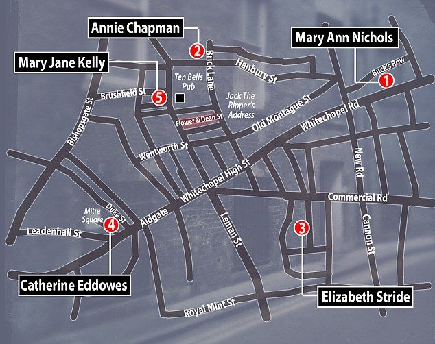 Jack the Ripper - victims map