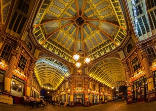 Leadenhall Markets by night, London