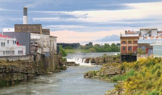 The Mataura falls at the paper mills in normal flow