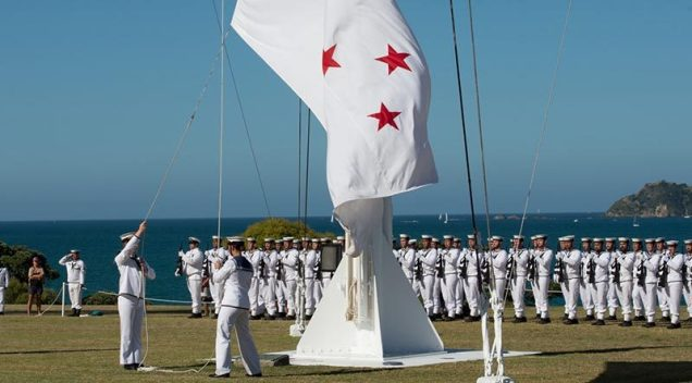 Ensign being raised at Treaty Grounds, Waitangi