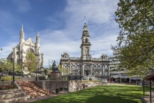 The Octagon with St. Pauls Cathedral and the Town Hall, Dunedin